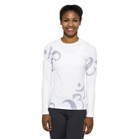 Women's UV Active Shirt, Om, grey on white