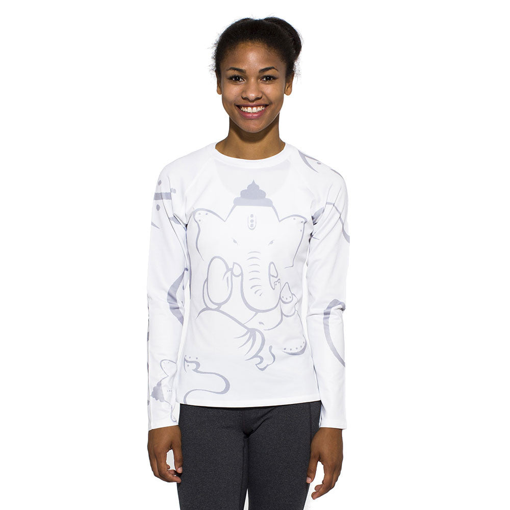 Women's UV Active Shirt, Ganesha, grey on white