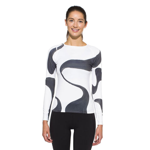 Women's UV Active Shirt, Ganges, charcoal on white
