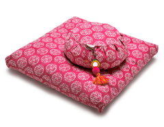 Fuchsia Suzani Zabuton Meditation Cushion