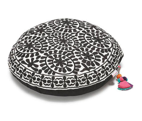 Black Mod Marigold Zafuton Meditation Cushion