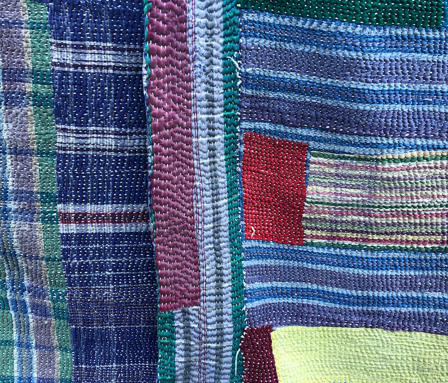 Hand-stitched Kantha Quilt - blue fields