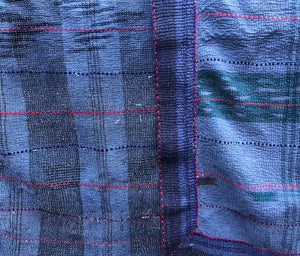 Hand-stitched Kantha Quilt - blue plaid