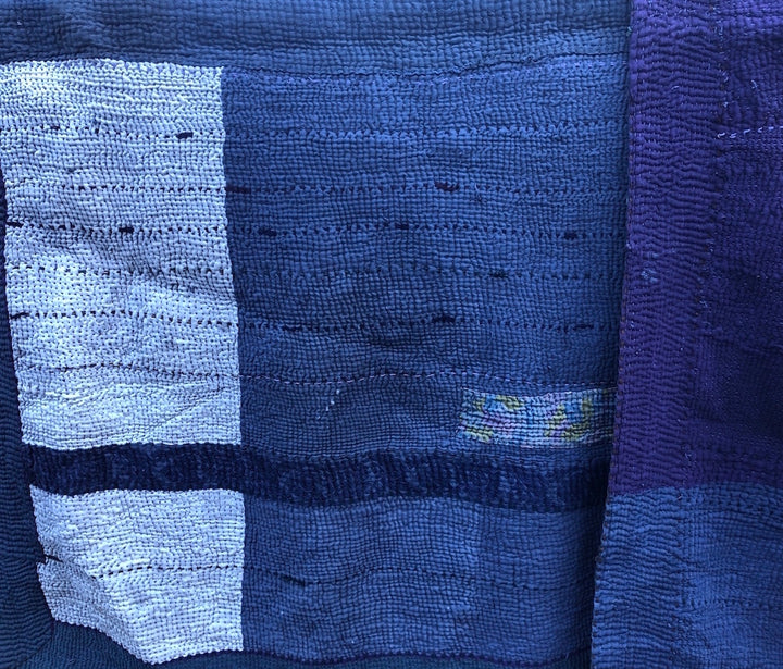 Hand-stitched Kantha Quilt - blue tones