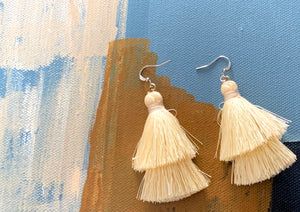 Under the Same Sky :: Giving Earrings, cream tiered tassel