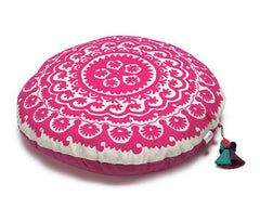 Fuchsia Suzani Scroll Zafuton Meditation Cushion