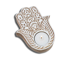Wood Block Candle -- Hamsa design