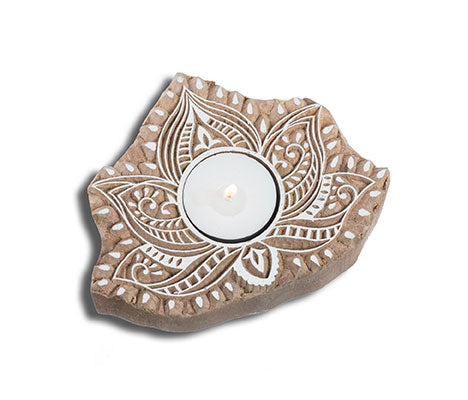 Wood Block Candle -- Lotus design