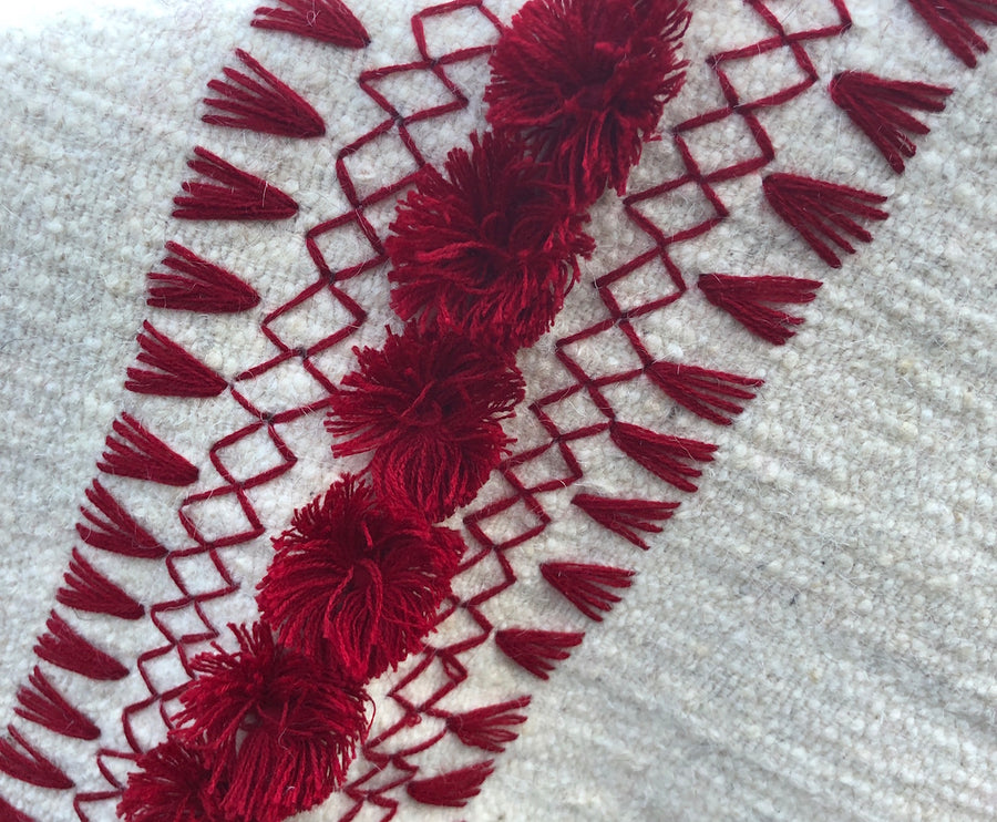 Chiapas Wool Shawl, ivory with burgundy embroidery/fringe