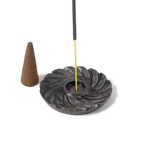 "Incense Burner -- Black Swirl carved stone design, 2"" diameter"