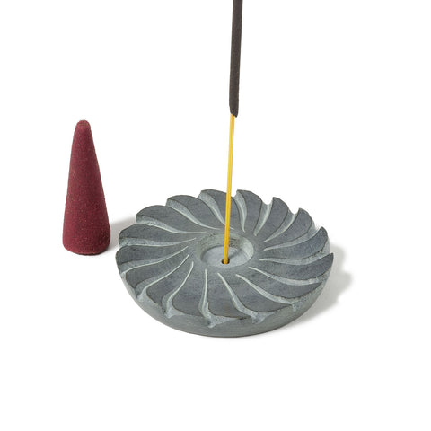 "Incense Burner -- Gray Swirl carved stone design, 2"" diameter"