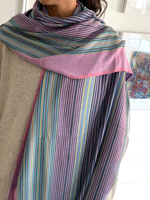 Under the Same Sky :: Giving Shawl, pink-blue-green stripe