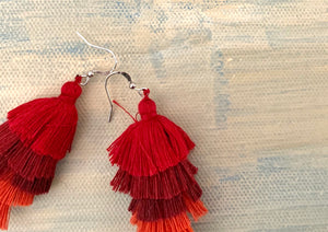 Under the Same Sky :: Giving Earrings, red ombre waterfall tassel