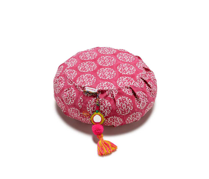 Zafu Meditation Cushion Fuchsia Suzani