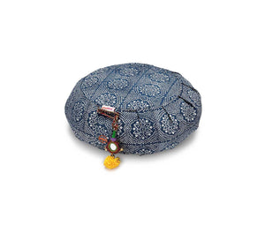 Navy Bandhani Zafu Meditation Cushion