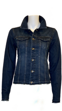 Load image into Gallery viewer, HTrailz Women Dark Denim Jacket with Stripe and Chain