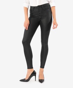 KUT From The Kloth Mia High Rise Slim Fit Skinny Black Coated