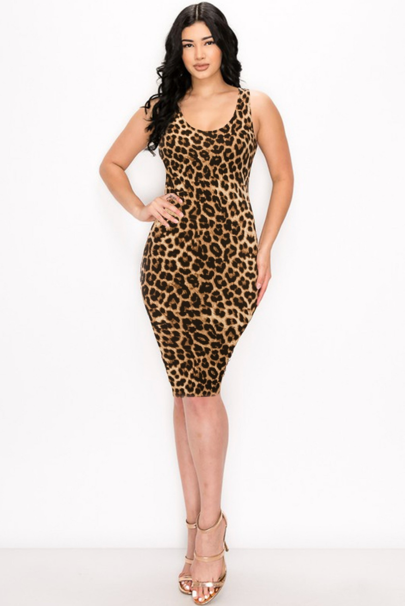 Call Me Wild Leopard Print Midi Dress - Women's Clothing Fashion 2020
