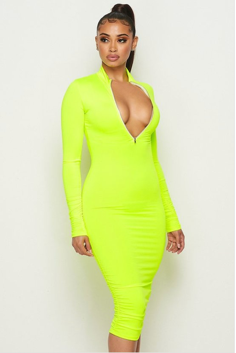 Slime Midi Dress - Women's Sexy Bodycon Dress Fashion 2020
