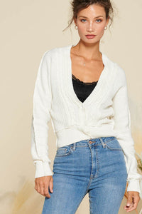 Cable Knit Cropped Cardi - 3 colors