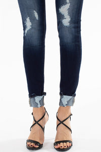 KanCan High Rise Button Fly Distress Skinny Jean