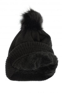 Fine Knit Beanie with Pom - 3 colors