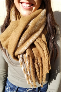 Plush Camel Stripe Scarf
