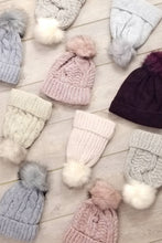 Load image into Gallery viewer, Single Cable Knit Beanie with Pom - 2 colors