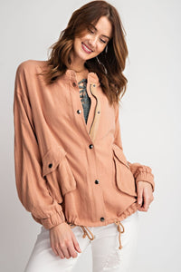 Lightweight Bomber Jacket - Apricot