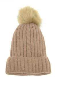 Single Cable Knit Beanie with Pom - 2 colors