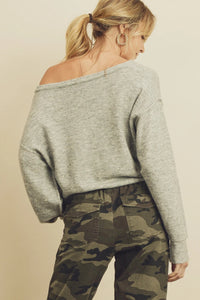 Slouchy V-Neck Sweater - Heather Grey