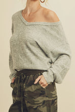 Load image into Gallery viewer, Slouchy V-Neck Sweater - Heather Grey