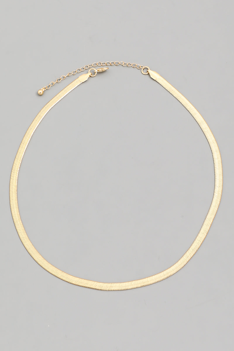 Dominique Slender Herringbone Necklace