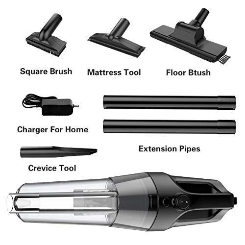 Vacuum Cleaner SOWTECH Rechargeable Cordless Vacuum Cyclonic Suction Lightweight Handheld Vacuum Cleaner with Stainless Steel Filter (Bagless) and 6 of Accessories - Black