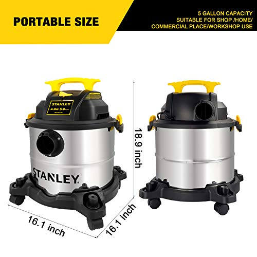 Stanley 5 Gallon Wet Dry Vacuum, 4 Peak HP Stainless Steel 3 in 1 Shop Vac Blower with Powerful Suction, Multifunctional Shop Vacuum W/ 4 Horsepower Motor for Job Site,Garage,Basement,Van,Workshop