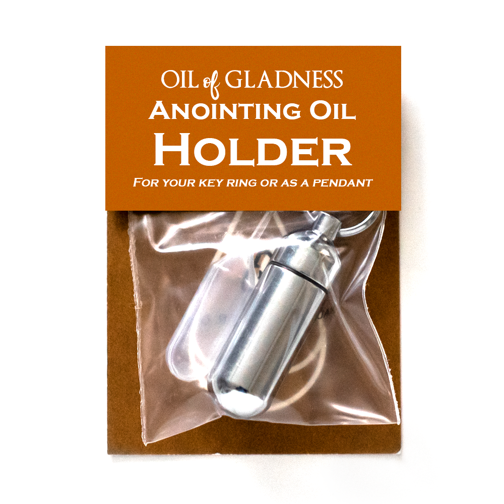 Oil of Gladness Anointing Oil<br> Value Packaged Oil Holder, Silvertone