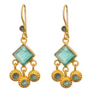 Square Faceted Apatite & Gold Earrings