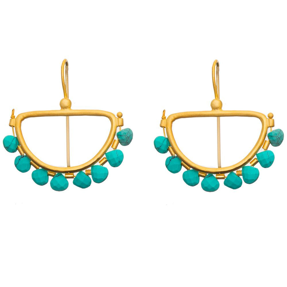 Faceted Turquoise Semi Circle Earrings