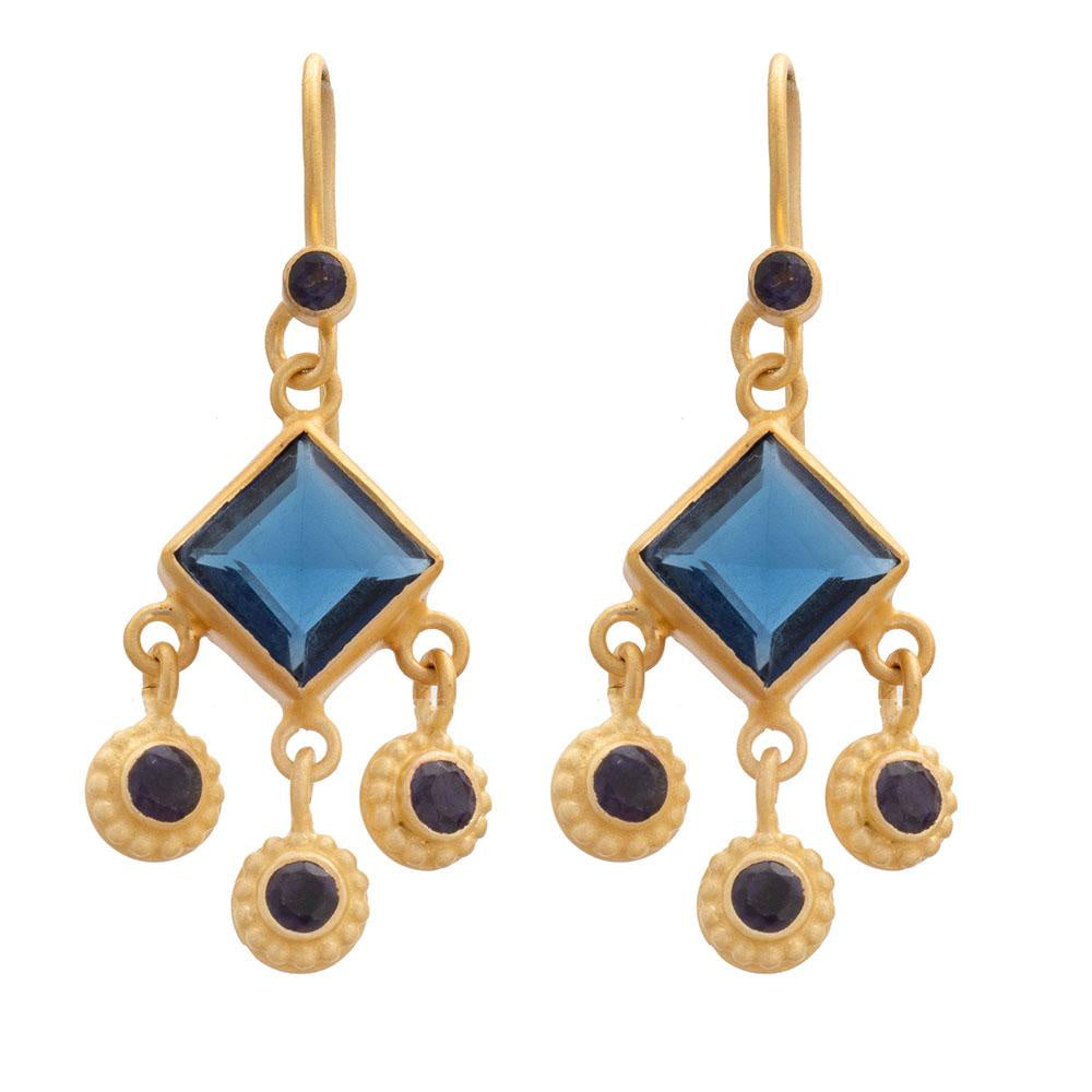 Square Faceted Iolite & Gold Earrings
