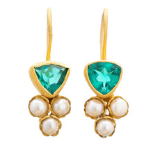 Load image into Gallery viewer, Pearl and Semi Precious Matt Gold Plate Earrings