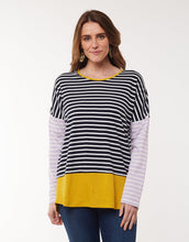 Load image into Gallery viewer, Liberty Stripe LS Tee - Mustard/Navy