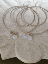 Load image into Gallery viewer, Double Moonstone & Sterling Silver Hoops
