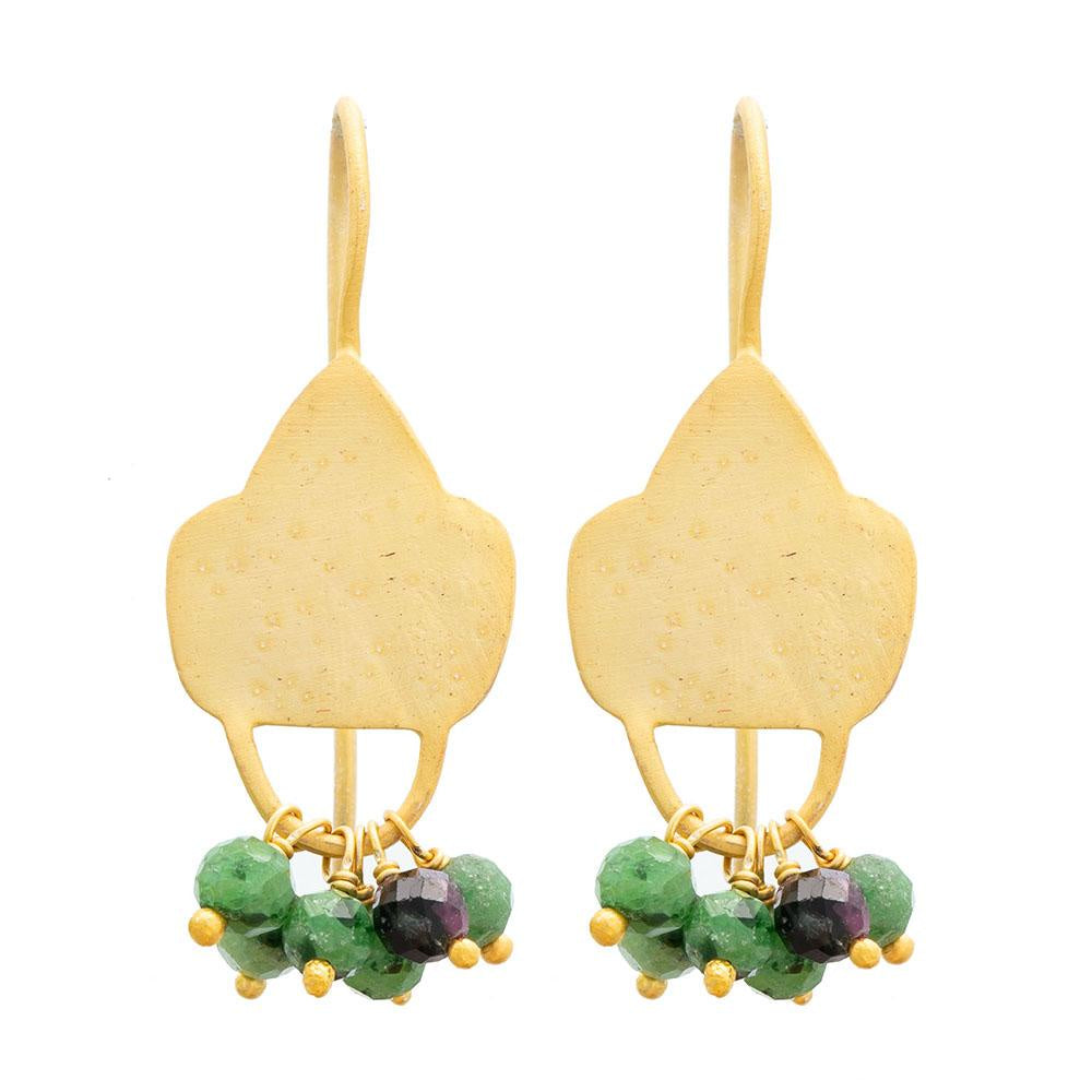 Gold Plate Ruby Zoisite Shield Earrings