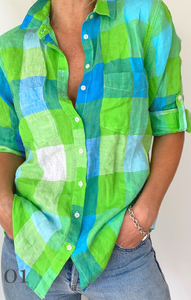 Classic Boyfriend Linen Shirt - Green Plaid