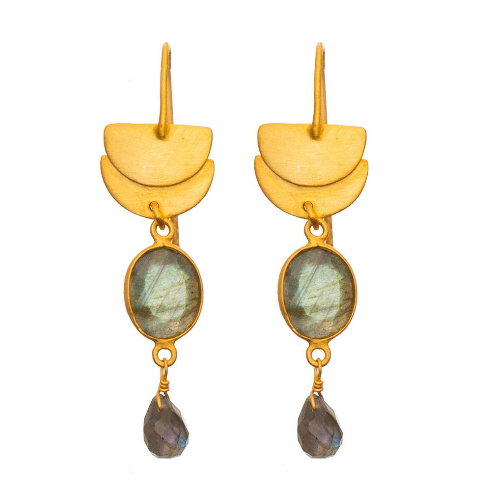 Matt Gold Crescent Labradorite Earrings