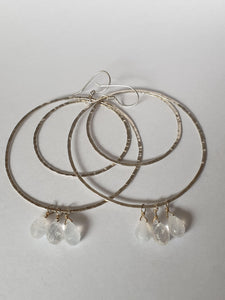 Double Moonstone & Sterling Silver Hoops