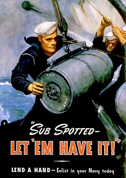vintage poster of navy man handling equipment on a ship with the text 'Let em have it''