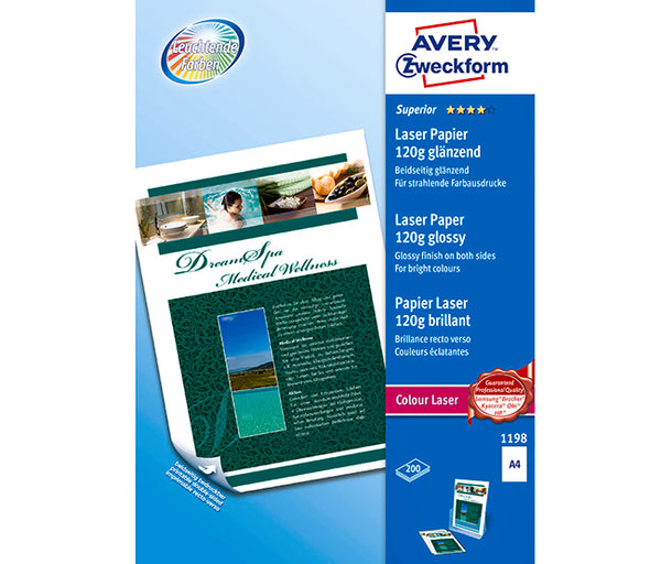 AVERY 1198 COLOUR LASER GLOSS A4 120G