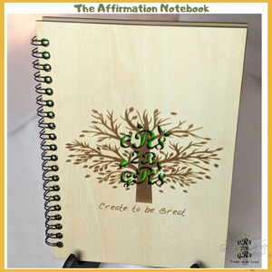Affirmation positive Empowering Motivational encouraging manifestation law of attraction Notebook, journal, spell book, diary , wooden natural, nature