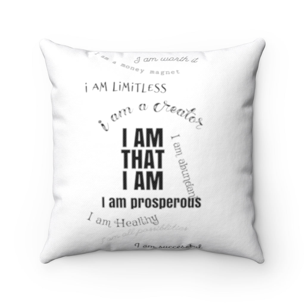 Create to Be Great Creator's I AM Affirmation Pillow. Motivational, Inspiring Empowering Law of Attraction clothing
